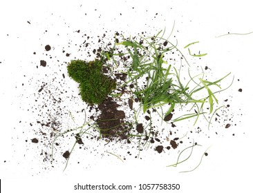 Pile of soil, dirt with grass isolated on white background, top view