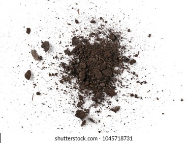 Pile of soil, dirt isolated on white background, top view