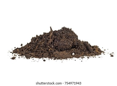 Pile of soil isolated on white background