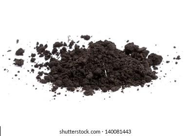 a pile of soil on white