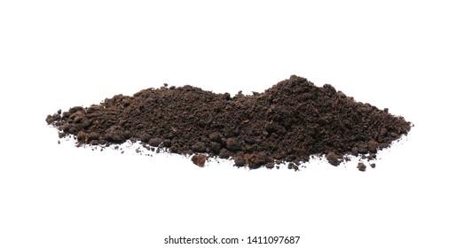 Pile of soil on white background. Fertile ground