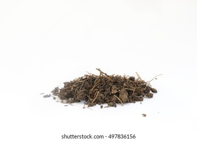 Pile of soil on white background