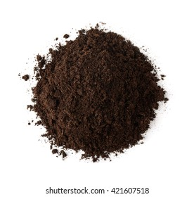 Pile of soil, top view isolated on white