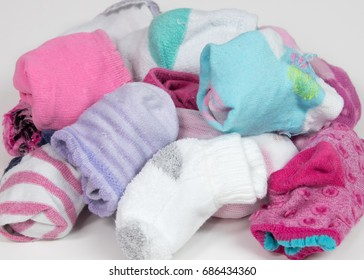 Pile of sorted children's socks, ready to put away