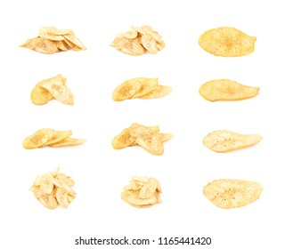 Pile of spiced banana chips isolated over the white background, set of multiple different compositions