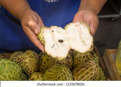 Pile or Stack or Custard Apple, Sugar-apple, natural Tropical America Sweet and Soft flesh Fruit in Basket.