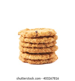 Pile stack of oatmeal cookies isolated over the white background