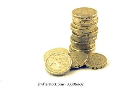 Pile or stack of old UK 1 pound coins