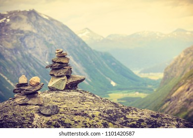 Pile stack of rocks in norway scandinavian moutain. Stacked stones, harmony balance.