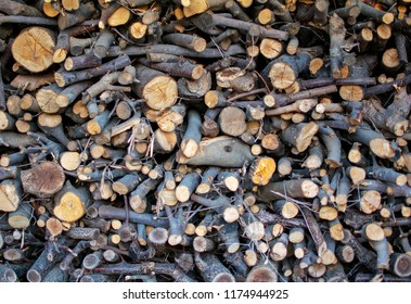Pile of stacked chopped fire woods for heating use.