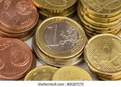 pile of stacked euro coins, european money
