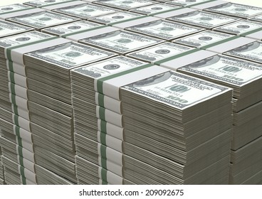 A pile of stacked wads of us dollar banknotes on an isolated background