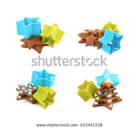 Pile of a star shaped cookies next to a plastic vibrant cookie cutter, composition isolated over the white background, set of four different foreshortenings