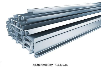 Pile of Steel Channels, Isolated on White Background.