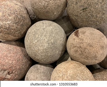 Pile Of Stone Cannonballs From Vilnius, Lithuania.