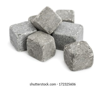Pile of stone cubes isolated on white