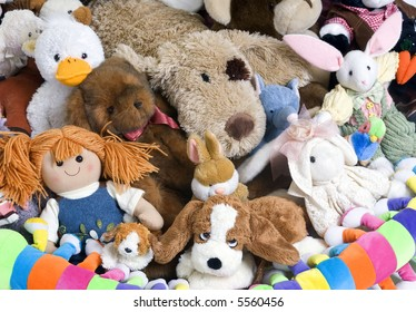 A pile of stuffed animials for a childs room