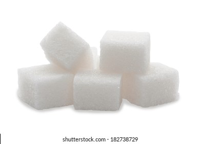 Pile of sugar lumps, isolated on a white background