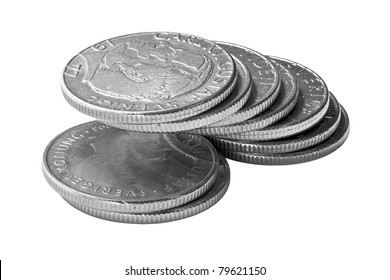 A pile of Swedish Crones. Isolated on white. Clipping path is included.