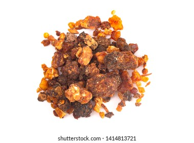 A Pile of Sweet Myrrh Opoponax Isolated on a White Background