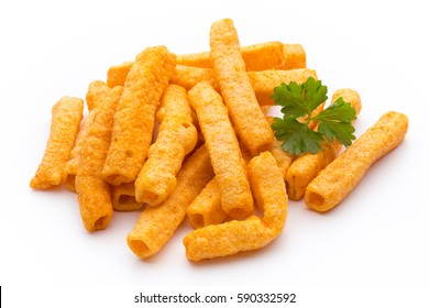 Pile of sweet potato or yam fries isolated on white background.