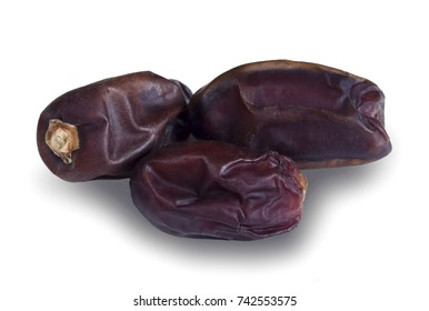 Pile of sweet saudi khudri dates on white background