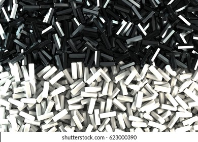 A pile symmetrically distributed black and white hexagon details. Abstract background. 3D rendering illustration