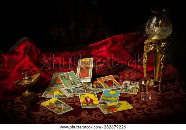 Pile Tarot Cards Lie Scattered Spread Stock Photo (Edit Now