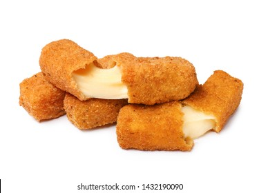 Pile of tasty cheese sticks isolated on white