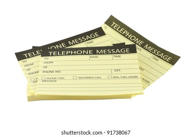 Pile of telephone message papers on white background.