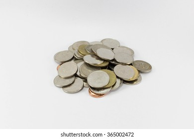 A pile of Thai Baht (THB) coins