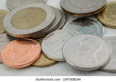 pile of thai coin.money.