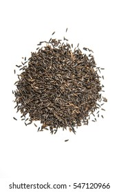 Pile of thistle seed isolated on a white background