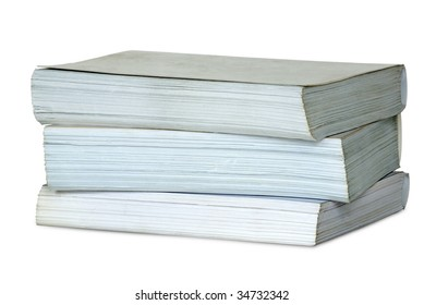 Pile from three thick books. Isolated on white background with clipping path.