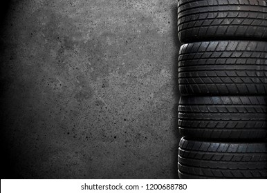 pile of tires of a sports car