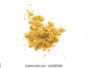 Pile of toasted farofa (Brazilian toasted cassava flour condiment) - isolated