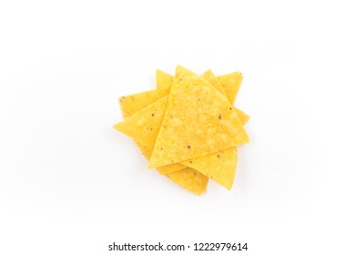 Pile of Tortillas. Nachos chips isolated on white