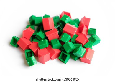 pile of toy houses - real estate concept