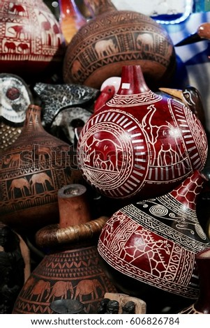 Pile Traditional African Vases Stock Photo Edit Now 606826784