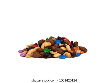 Pile of Trail Mix on White Background