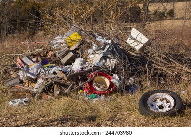 Pile of trash in a field