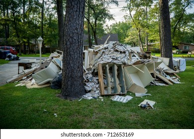 A pile of trash from a home that was hit by Hurricane Harvey