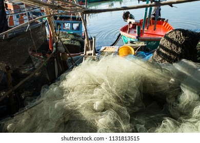 Pile of trawl at docks in the morning