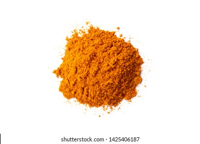 Pile of turmeric powder (Tumeric, Curcuma) isolated on white background. Indian spice,healthy seasoning ingredient for vegan cuisine.Natural medicine herbal plant,medical health care concept.Top view.