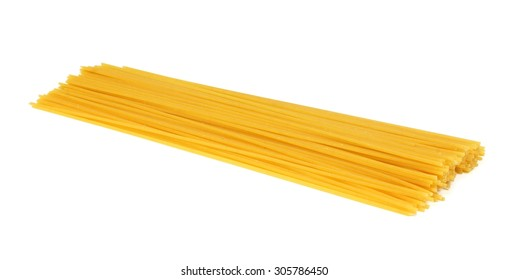 Pile of uncooked dry spaghetti pasta isolated on a white background