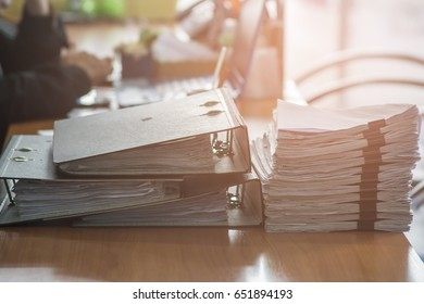 Pile of unfinished documents on office desk, Stack of business paper,Business Concept