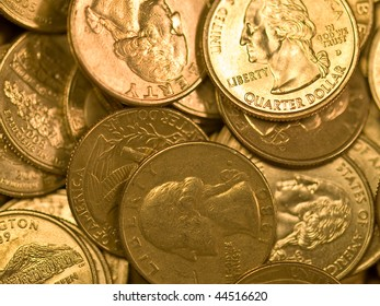 Pile of United States Coins Goldtone Quarters