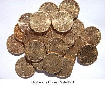 pile of united states Sacagawea dollars