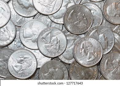 Pile of Unites States Quarter Dollars for Background