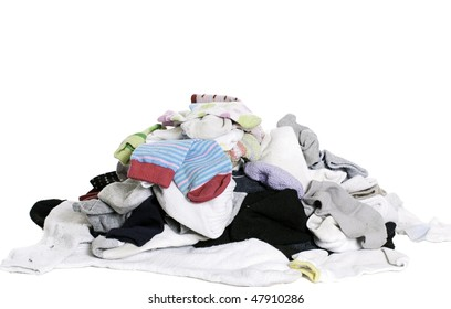A pile of unsorted socks, isolated against a white background